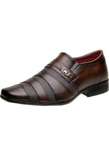 Sapato Social Torrenezzi Bico Quadrado Liso Metal Masculino - Masculino-Marrom