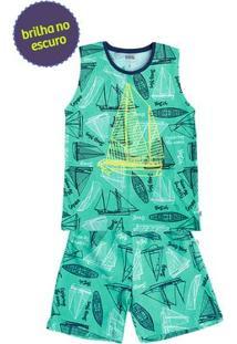 Pijama Infantil Masculino Brilha No Escuro Com Regata [] []