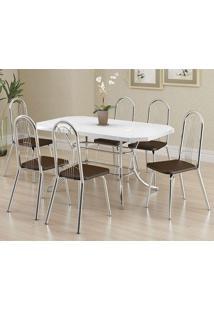 Conjunto Mesa 1507 Branca Cromada Com 6 Cadeiras 182 Cacau Carraro