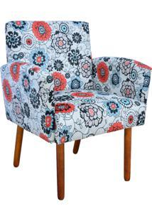Poltrona Decorativa D'Rossi Veronês Para Sala E Recepção Estampado Floral Color D56