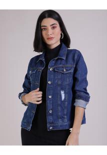Jaqueta Jeans Feminina Com Rasgos Azul Médio
