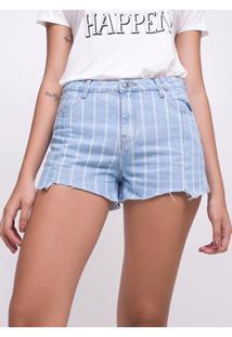 Short Jeans Com Listras E Recortes