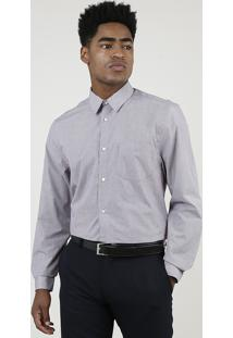 Camisa Masculina Comfort Estampada Xadrez Manga Longa Com Bolso Vinho