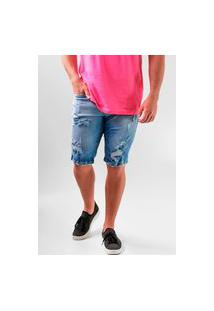 Bermuda Jeans Colcci Slim Rasgada Stoned