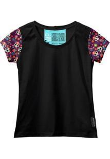 Camiseta Baby Look Feminina Algodão Estampa Caveira Moda - Feminino-Preto