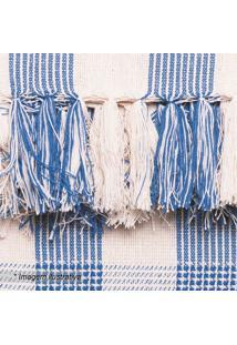 Manta Campestre- Azul & Bege Claro- 140X140Cm- Aartesanal