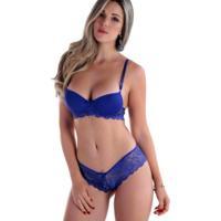 e51f2b6fb Conjunto Lingerie Renda Tanga Laço Azul-Gg