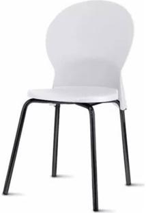 Cadeira Luna Assento Branco Base Preta - 53835 - Sun House