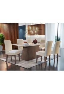 Conjunto De Mesa De Jantar Luna Com Vidro E 6 Cadeiras Grécia Veludo Creme E Off White