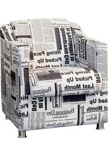Poltrona Decorativa Tilla Tecido Jornal - Nay Estofados