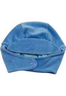 Touca Ano Zero Bebê Plush Com Protetor De Orelhinha Azul