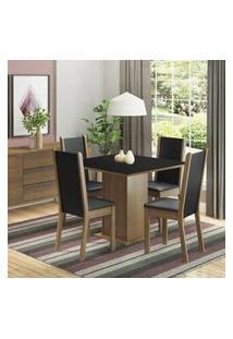 Conjunto Sala De Jantar Madesa Roma Mesa Tampo De Madeira Com 4 Cadeiras Rustic/Preto Rustic