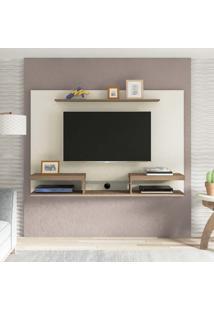 Painel Para Tv 60 Polegadas Essence Off White E Marrom 180 Cm