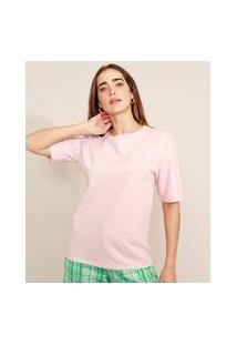 T-Shirt Longa Manga Curta Decote Redondo Mindset Rosa Claro