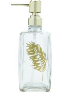 Porta-Sabonete Líquido Vidro Gold Leaf Fd Transparente 7X7X20Cm 500Ml