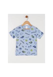 Pijama Curto Infantil Para Menino - Azul