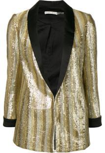 Alice+Olivia Embellished Fitted Blazer - Dourado
