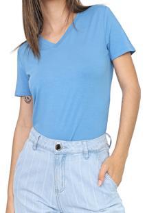 Camiseta Morena Rosa Gola V Azul - Kanui