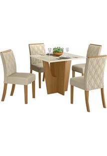 Sala De Jantar Mesa Quadrada Vértice 90Cm Com 4 Cadeiras Vita Nature/O