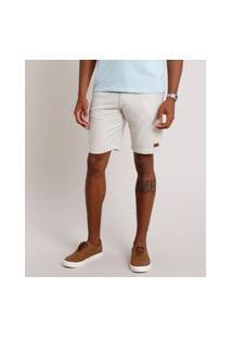 Bermuda Masculina Reta Com Cordão E Bolsos Bege Claro