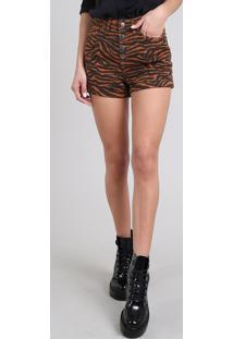 Short De Sarja Feminino Hot Pant Estampado Animal Print Barra Dobrada Caramelo