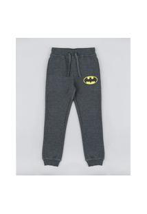 Calça Infantil Batman Em Moletom Cinza Mescla Escuro