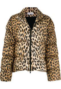 Balenciaga Jaqueta Matelassê Com Estampa De Leopardo - Marrom