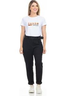 Camiseta Cropped Clara Arruda Viés Estampada 18020028 Feminina - Feminino-Branco
