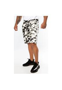 Bermuda Short Moletom Tie Dye Premium Branco/Preto