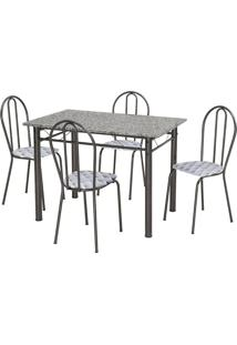 Conjunto De Mesa Monique Com 4 Cadeiras Craqueado Preto Capitonê