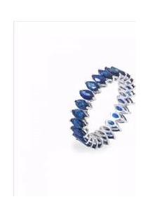 Aliança De Pedras Navetes Cor Safira Blue Florenzza Em Prata 950