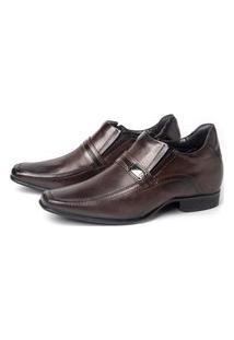 Sapato Social Rafarillo Masculino Couro Palmilha Anatômica Com Salto Elástico Lateral Marrom