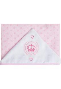 Toalha De Banho Com Capuz Coroa- Rosa Claro & Brancapapi