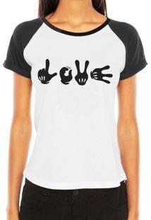 Camiseta Criativa Urbana Raglan Engraçadas Mãos Hands Love - Feminino