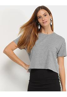 Camiseta Cropped Sommer Listrada Feminina - Feminino-Preto+Areia