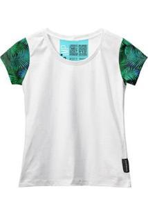 Camiseta Baby Look Feminina Algodão Estampa Folha Estilo - Feminino-Branco+Verde