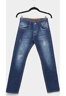Calça Jeans Infantil Skinny Gangster Estonada Puídos Masculina - Masculino