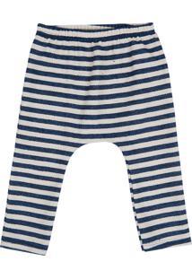 Calça Moletom Listrada Blühen Menino Branco E Azul Marinho