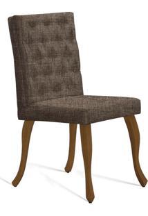 Cadeira De Jantar Leonardo Da Vinci I Capitonê Linho Dourado
