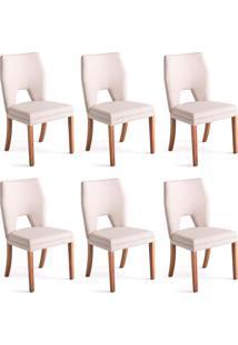 Conjunto Com 6 Cadeiras De Jantar Dark Branco E Castanho