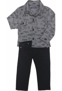 Conjunto Camisa Estampada Com Calça Jeans Color Mister Boy Preto