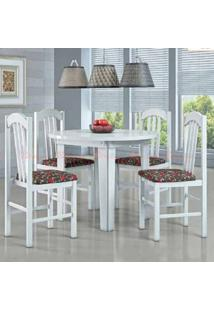 Conjunto Lisboa Branco Mesa Redonda 4 Cadeira Moveis Canção