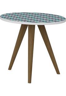 Mesa De Canto 400 Retrô – Be Mobiliário - Branco / Estampa Azul