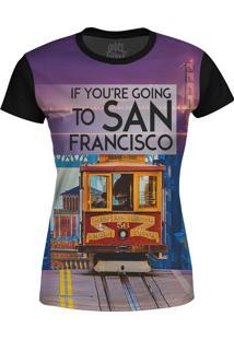 Camiseta Estampada Baby Look Over Fame San Francisco Roxo