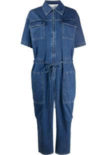 Stella Mccartney Macaquinho Jeans Com Mangas Curtas - Azul