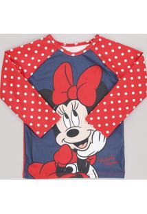 Camiseta De Praia Infantil Estampada Minnie Manga Longa Gola Careca Com Proteção Uv50+ Vermelha