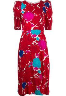 P.A.R.O.S.H. Vestido Midi Sotty Com Estampa Floral - Vermelho
