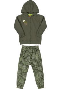 Conjunto Jaqueta Com Patch E Calça Verde