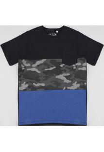 Camiseta Infantil Com Recortes E Bolso Manga Curta Preta