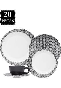 Aparelho De Jantar E Chá Oxford Porcelana Moon Spirale 20Pçs Preto/Branco